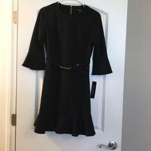NWT Sharagano Petite Black Flutter Skirt Dress